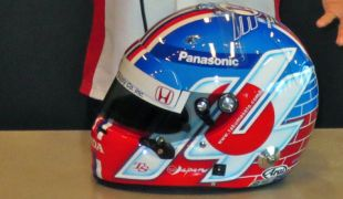 Sato unveils special Indy 500 helmet to be auctioned for With You Japan