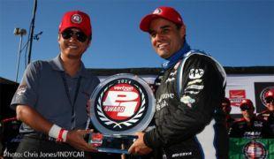 Montoya takes pole at Pocono, first Verizon P1 Award since IndyCar return