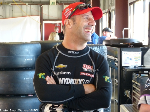 Tony Kanaan looks relaxed on Saturday morning at the GoPro Grand Prix of Sonoma.