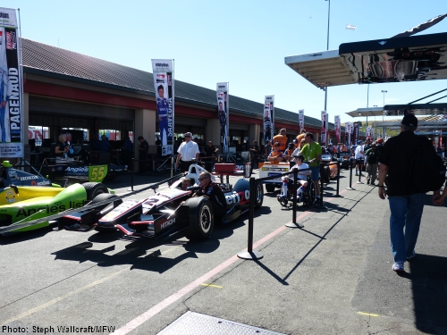 A view of the paddock at Sonoma Raceway as the IndyCars prepare to pull out for Saturday morning practice.
