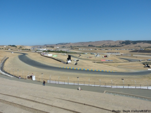 The view from the exit of turn 2 into turn 3 from the turn 2 terrace at Sonoma Raceway.