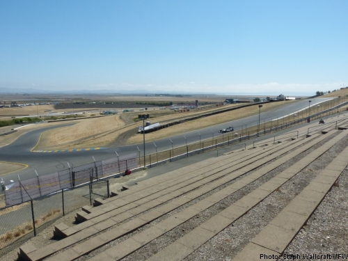 The view of turn 4 from the north side of the turn 3 terrace at Sonoma Raceway.