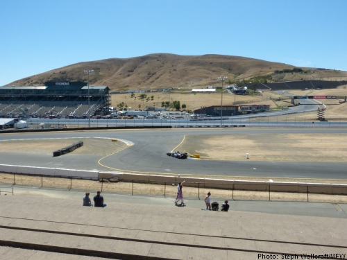The view from directly in front of turn 9a in the turn 9 terrace at Sonoma Raceway.