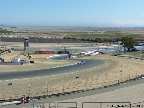 The view of turns 1 and 2 from the turn 2 terrace at Sonoma Raceway.