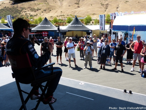 JR Hildebrand answers fan questions at the Barracuda Racing tweet-up at Sonoma Raceway.