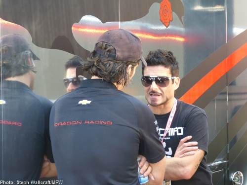 Alex Tagliani catches up with Jay Penske in the paddock at Sonoma Raceway.