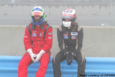 USF2000 drivers wait for race 2 to start at Mazda Raceway