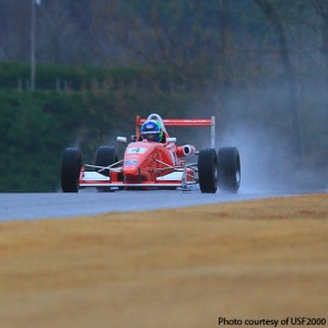 Daniel Burkett runs in the wet in session 1 of the USF2000 Chris Griffis Memorial Test at Barber Motorsport Park.