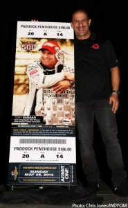 Tony Kanaan unveils the ticket for the 2014 Indianapolis 500