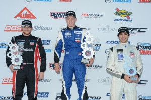 Pro Mazda Race 1 podium at Cooper Tires Winterfest
