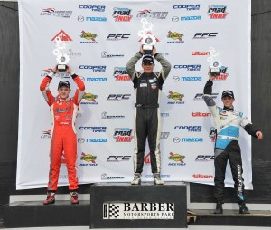 USF2000 race 6 podium from Cooper Tires Winterfest at Barber Motorsport Park