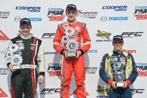 USF2000 race 4 podium from Cooper Tires Winterfest at Barber Motorsport Park