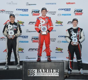 USF2000 race 5 podium at Cooper Tires Winterfest at Barber Motorsport Park