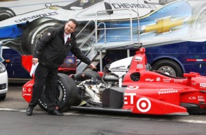 Chris Berube of Chevrolet shows off the INDYCAR Chevrolet 2.2L V6 used by Tony Kanaan of Target Chip Ganassi Racing