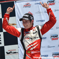 Zach Veach wins the Legacy Indy Lights 100 sprint race at Barber Motorsports Park