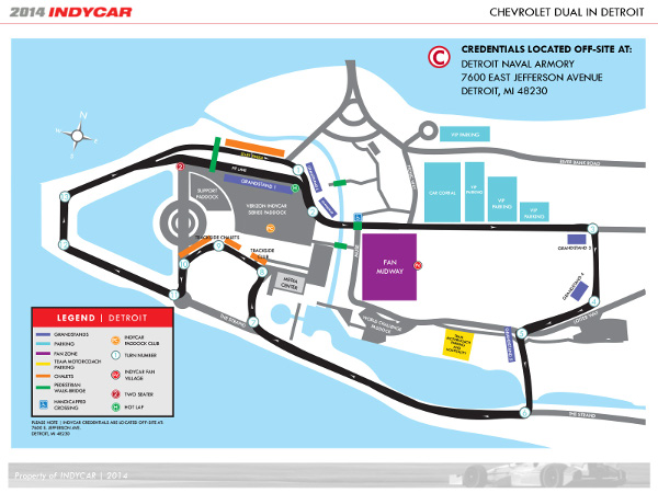 Track map for the 2014 Chevrolet Detroit Belle Isle Grand Prix