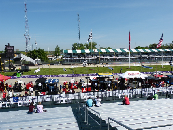 The view from the start-finish grandstand at the Chevrolet Detroit Belle Isle Grand Prix