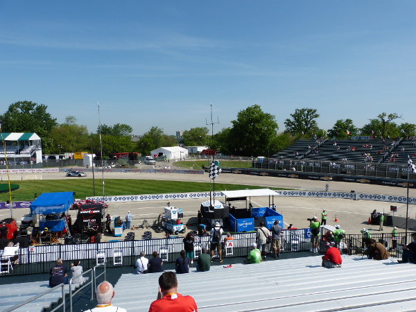 The view of turn 1 from grandstand 1 at the Chevrolet Detroit Belle Isle Grand Prix