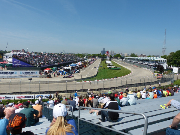 The view from grandstand 2 at the Chevrolet Detroit Belle Isle Grand Prix