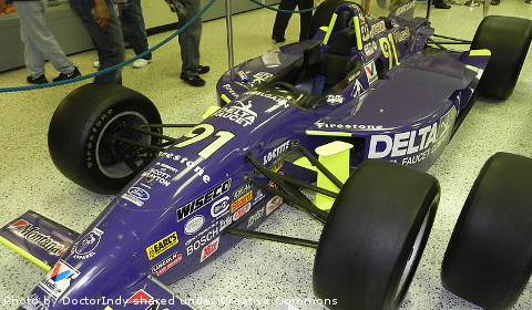 Buddy Lazier was the last driver to take a Ford-badged car to victory lane at Indianapolis Motor Speedway