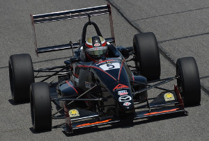 Aaron Telitz pilots the ArmsUp Motorsports No. 5 USF2000 entry to victory at the Night Before the 500 at Lucas Oil Raceway
