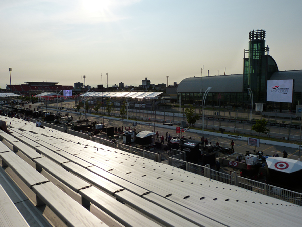 The view from the Honda Indy Toronto pit lane grandstand
