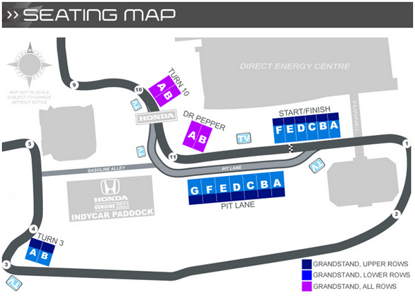 Honda Indy Toronto seating map