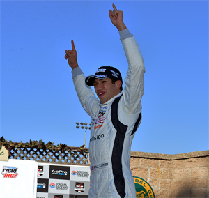 Kyle Kaiser wins first Pro Mazda race at Sonoma